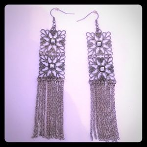 Silver Square Chain Earrings